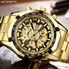 Luxury Brand Golden Luminous Automatic Mechanical Skeleton Dial Watch Mens Stainless Steel Band Mens Wrist Watch