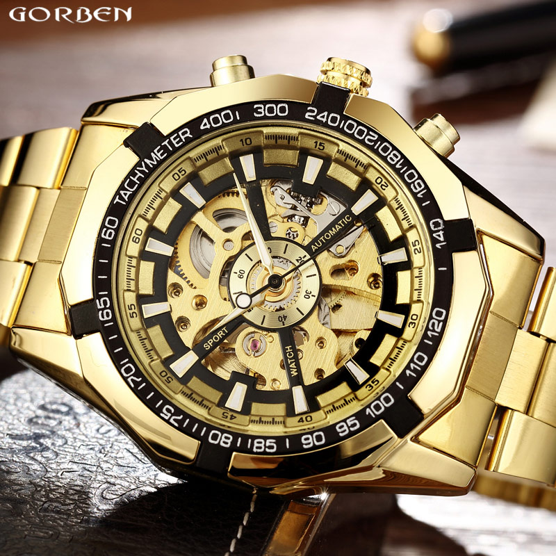 Marque de luxe doré gagnant lumineux automatique mécanique squelette cadran montre hommes en acier inoxydable Bracelet bande hommes montre-Bracelet