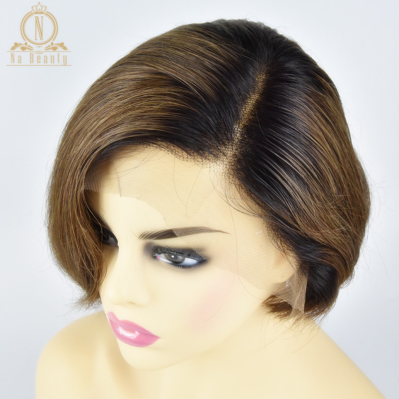 13x6 Lace Front Human Hair Short Wigs Bob Wigs Pixie Cut Ombre Color Natural Black Straight For Women Brazilian Remy Hair 150%