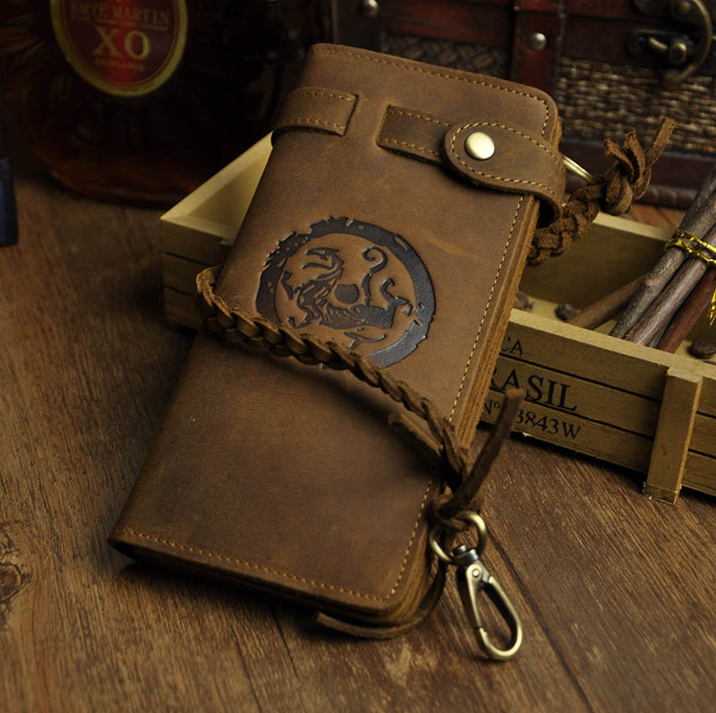 Cattle Male Organizal Crazy Horse Real Leather Design Checkbook Chain Wallet Purse Clutch Handbag For Men N3377