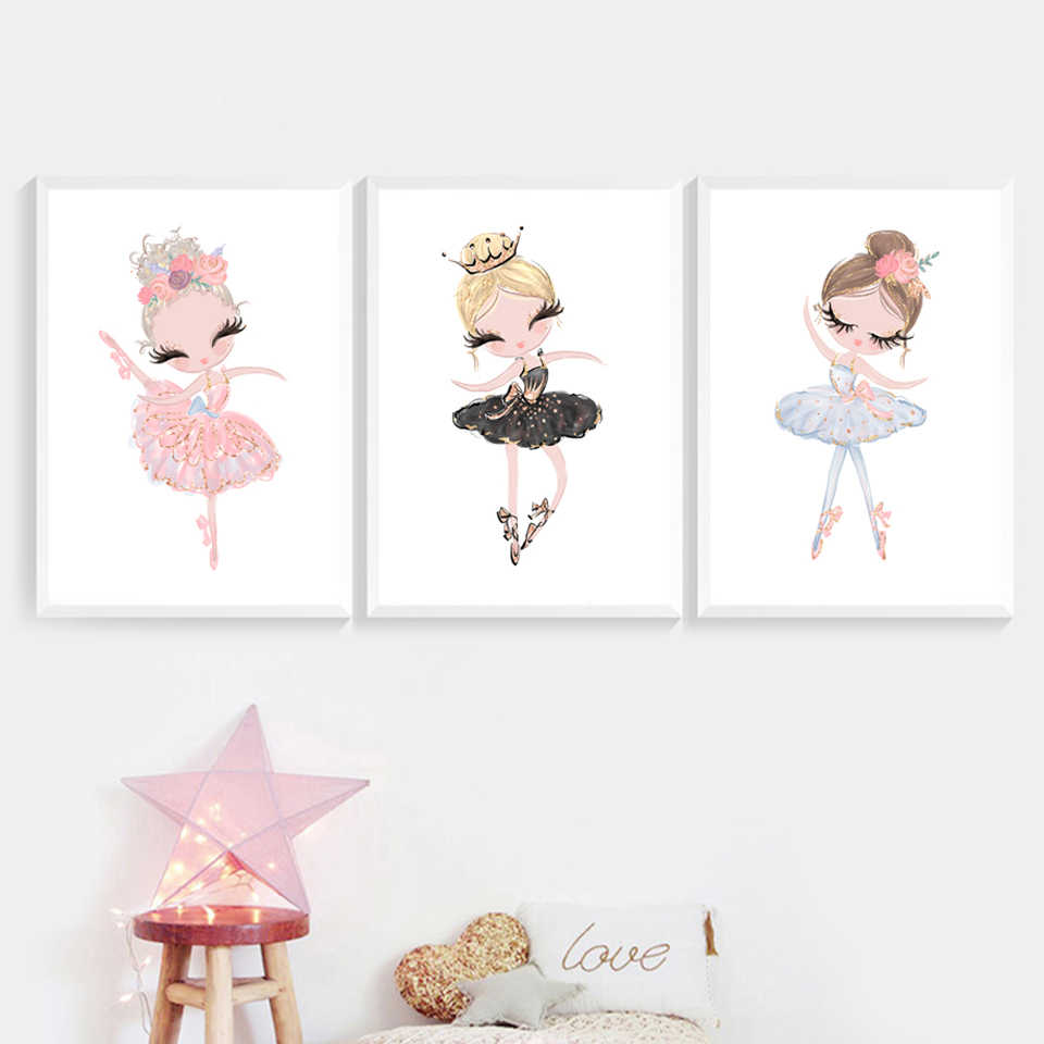 Wall Art  Home Decor Painting Nordic Canvas Cute Little Ballet Girl Fresh Pictures Modern Printed Poster For Living Room