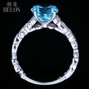 Image 4 - HELON Solid 14K White Gold 7MM Round 100% Genuine Blue Topaz & Pave Natural Diamonds Filigree Engagement Wedding Art Deco Ring
