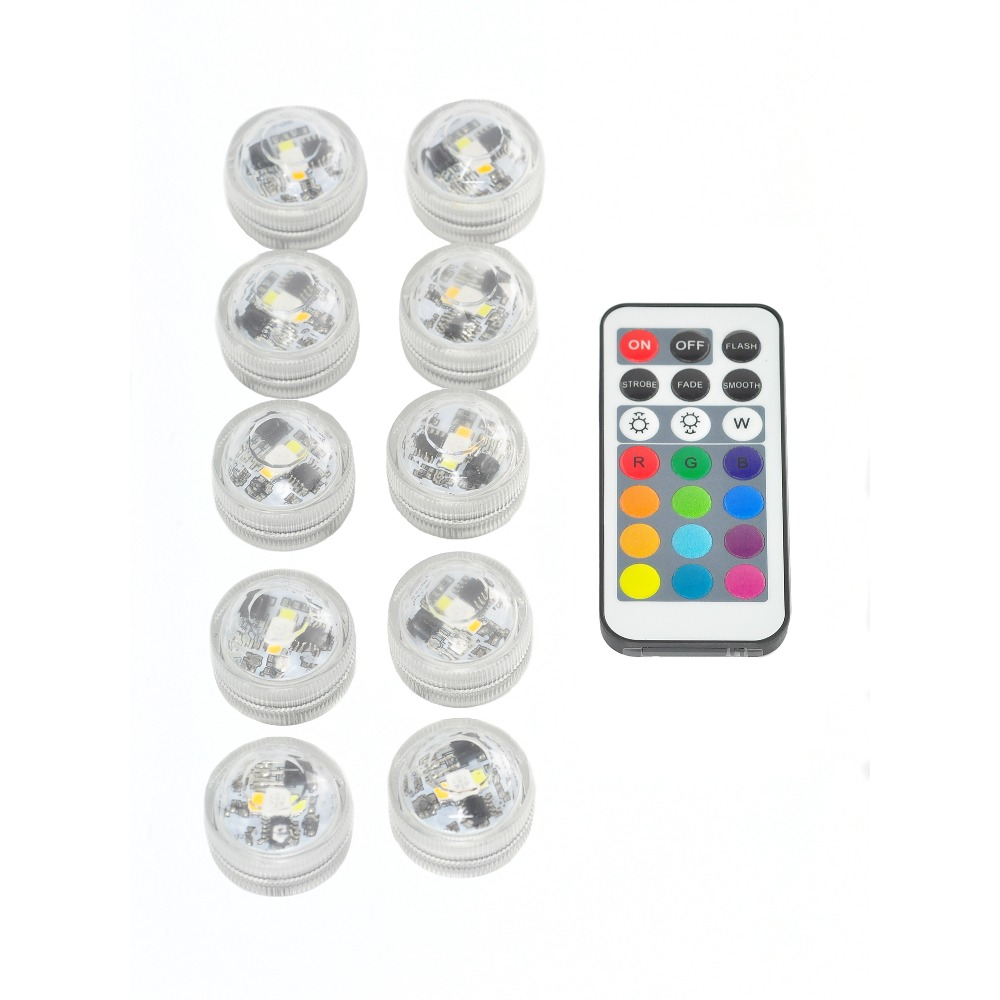 Kitosun 10pcs/1remote Battery Operated Waterproof Submersible Wedding, Holiday ,Party Decor LED Light with Remote