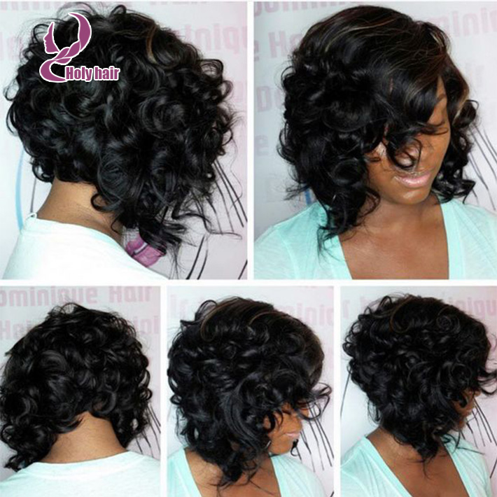 7a Glueless Full Lace Human Hair Short Curly Wig Fashion