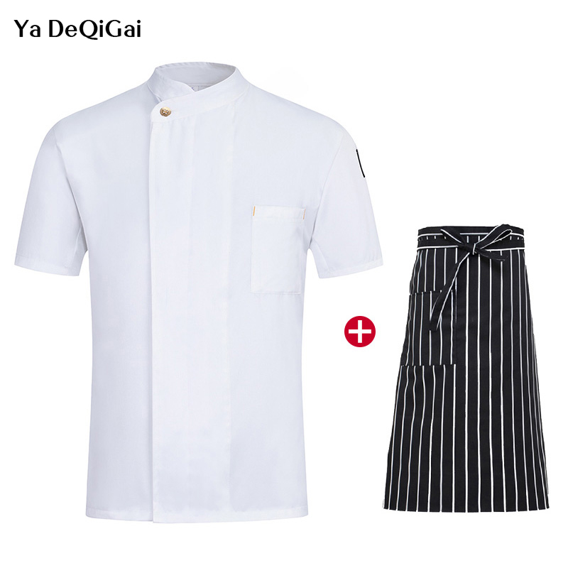 Unisex Casual Soft Short Sleeve Oblique Collar Single Breasted Kitchen Catering Restaurant Food Serive Work Uniform Coat Chef