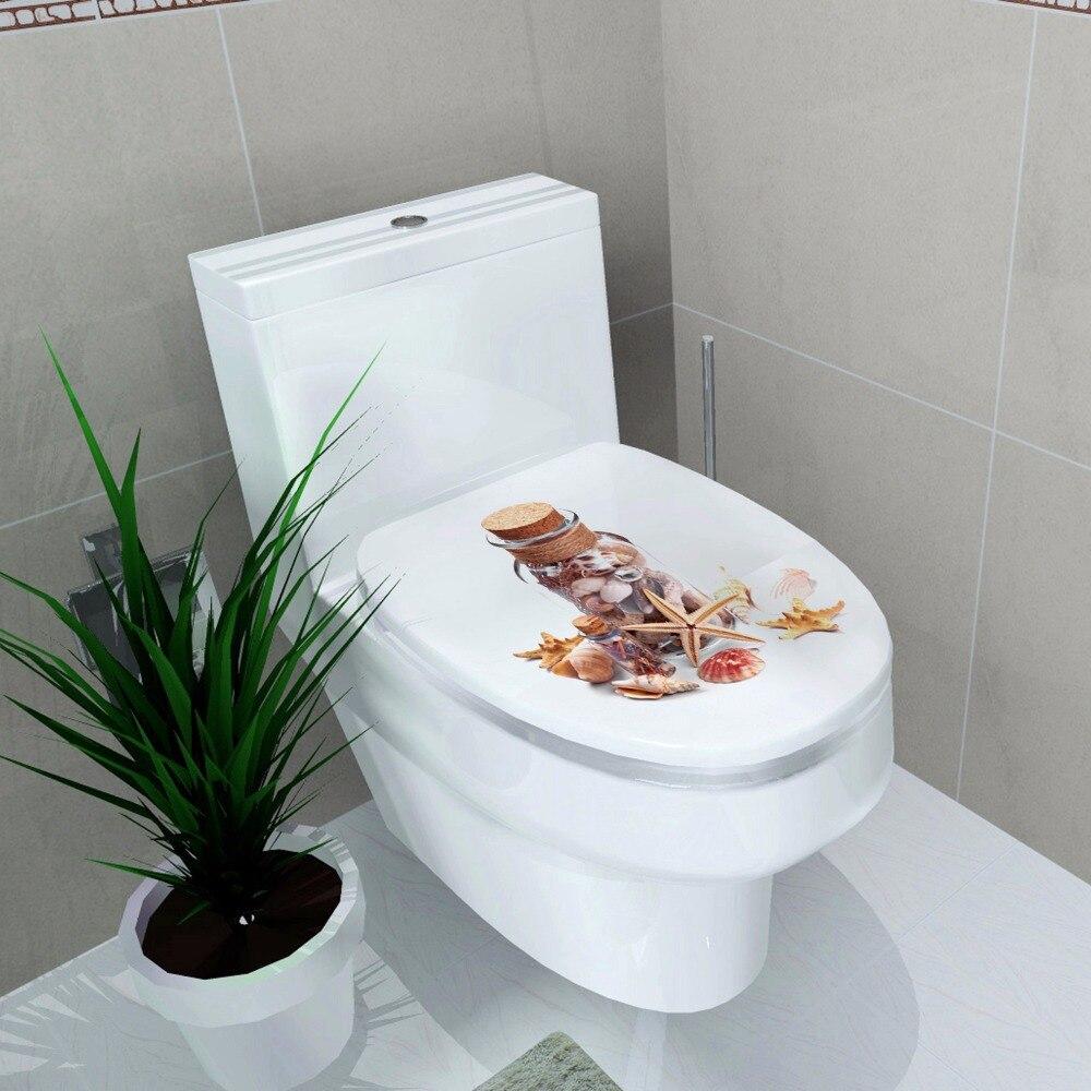 Туалет украшения Туалет Обложка Наклейка Водонепроницаемый Стикеры Желая бутылки shell