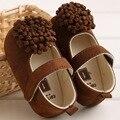Novo e elegante menina flor marrom vestido de algodão sapatos Mocassins sapatos da criança Do Bebê kid criança Primeira Walker suave sole alta qualidade