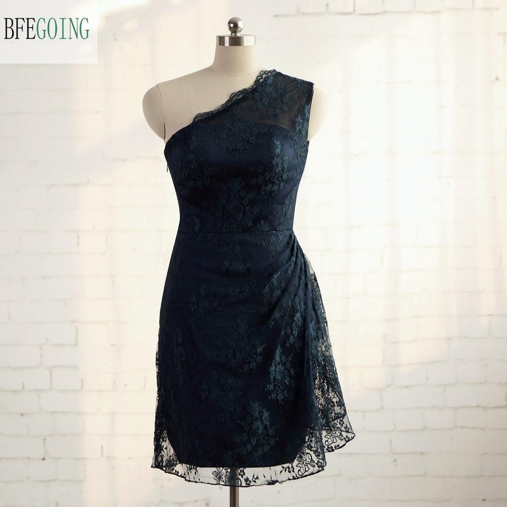 Lace One-Shoulder  Sheath Formal Bridesmaid Dress Knee-Length Sleeves  Real/Original Photos Custom Made