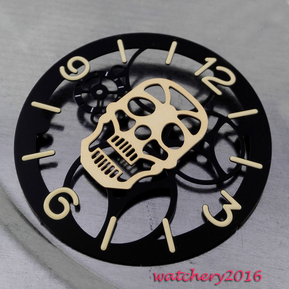 38.9mm Parnis gold hollow Skull Black Dial luminous markers fit 6497 <font><b>ST3600</b></font> Movement Men's New Watch dial image