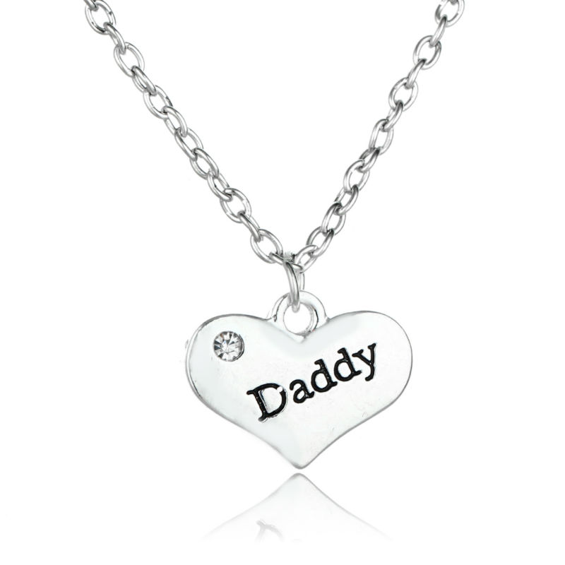 Daddy Heart Crystal Silver Plated Pendant Necklace Fashion
