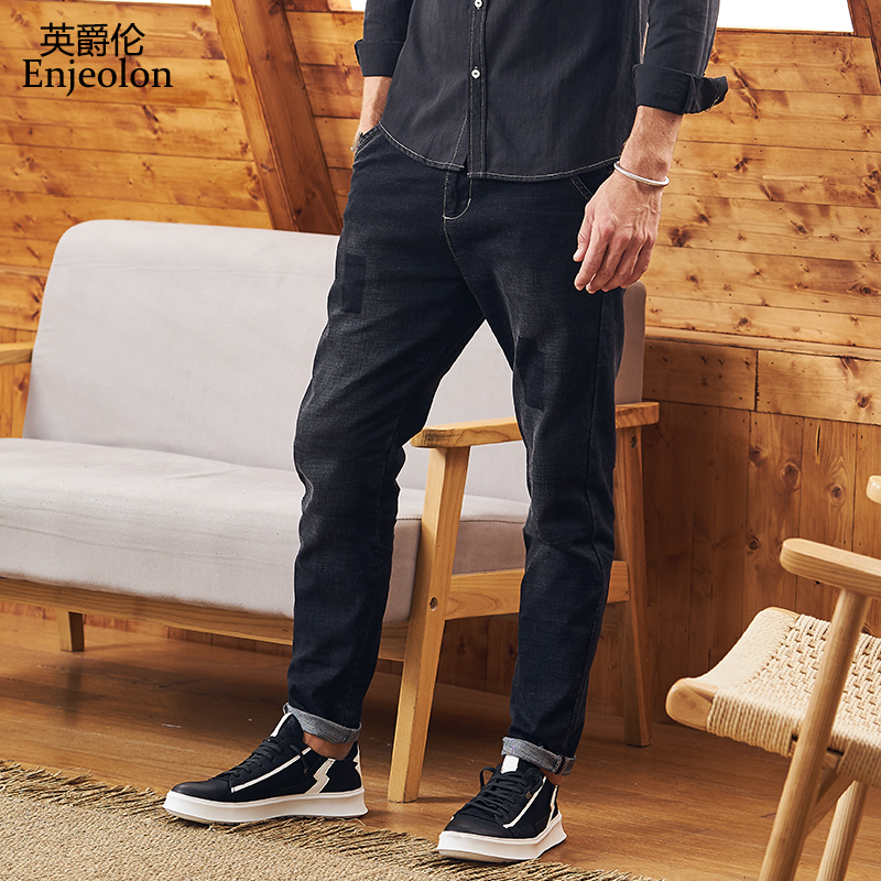 Enjeolon Brand Spring Quality Long Full Trousers Jeans Pants Man Cotton Black Patchwork Males Causal Jeans Male NZ069