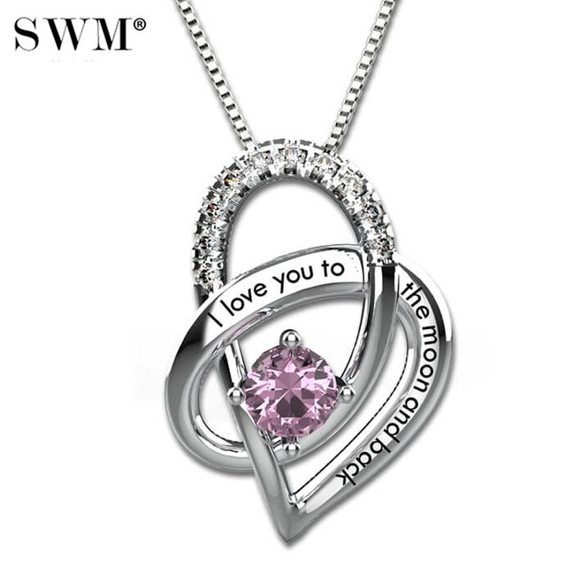 I Love You To The Moon and Back Necklace Womens Gift Custom Necklaces Silver Chain Crystal Birthstone Heart Pendant Present