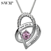 I Love You To The Moon and Back Necklace Women's Gift Custom Necklaces Silver Chain Crystal Birthstone Heart Pendant Present