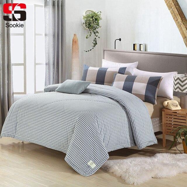 Sookie 100% Cotton Plaid Print Summer Quilt Thin Comforter Duvet ... : thin quilt - Adamdwight.com