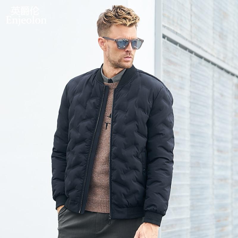 Enjeolon Brand Winter Cotton Padded O Neck Jacket Men Thick Parka Coat Male Quilted Winter Jacket Coat 3XL MF0637