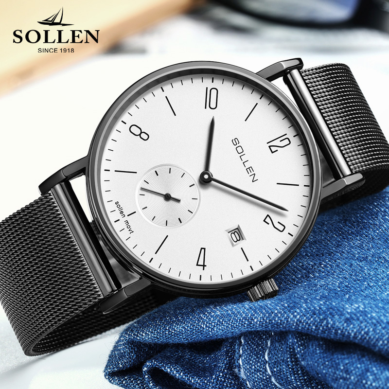 Brand SOLLEN Luxury Quartz Men Watch Stainless Steel Mesh Strap Small Hand Woks Ultra Thin Dial Sport Clock Relogio Masculino