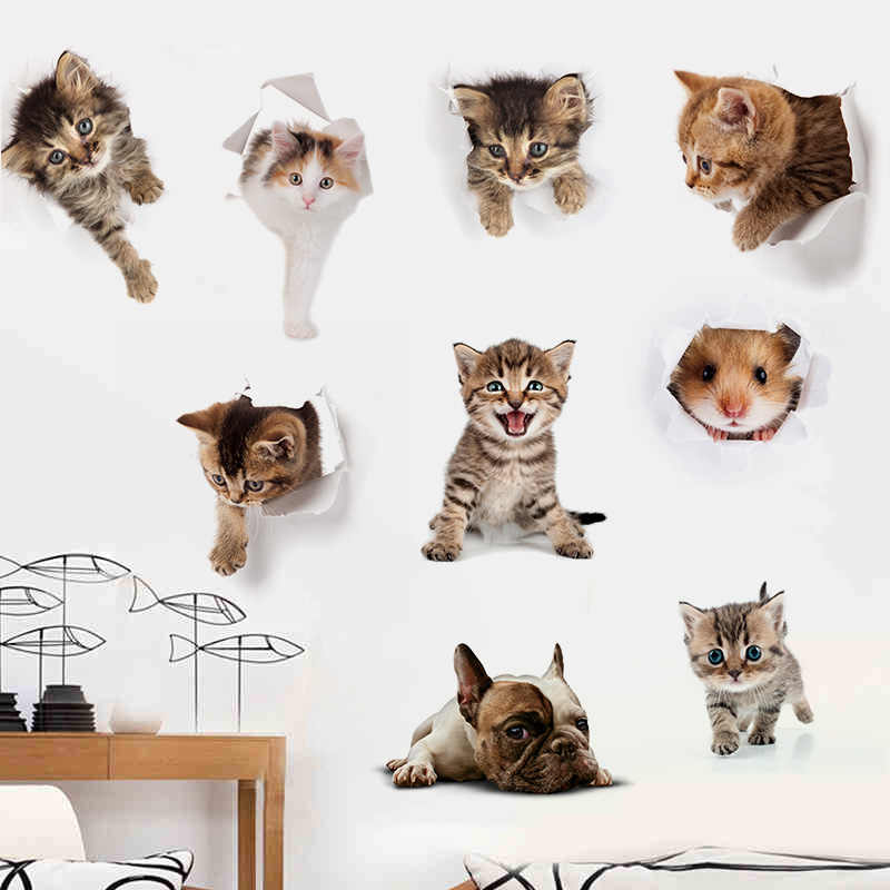Мультяшные животные милые наклейки с котом 3d наклейки для холодильника ПВХ наклейки на стену, Окно Ванная комната на сиденье унитаза Декор наклейки