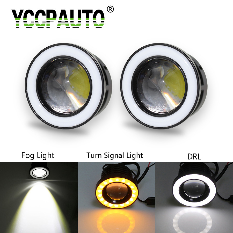 YCCPAUTO Car LED Fog Light White Yellow Halo Angel Eyes Rings With Lens COB 30W For SUV ATV Off Road Working Lights 2PCS