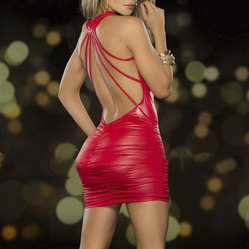 Women Sexy Bodycon Dress Sleeveless Deep V Neck Backless Mini Dress Faux Leather Bandage Dress Black/Red