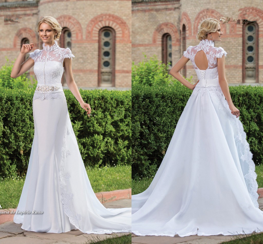 vestido de noiva High Neck Short Sleeve Vintage cheap mermaid Bridal gown 2018 Beaded Sa ...