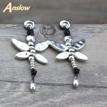 7b4d0927b23d Anslow joyería de moda nueva llegada artículos libélula de plata Chapado en  pendientes cuero para mujer madre día regalo LOW0095.