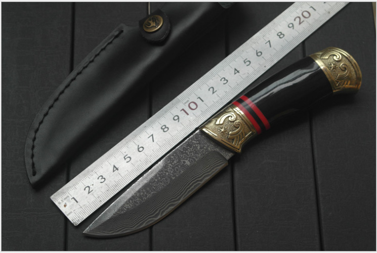 Fixed Blade Knife with Damascus Steel High Quality Steel Hunting Knife EDC Knives with Leather Sheath damascus steel blade ebony handle outdoor camping knife portable survival hunting knives with leather sheath knives fixed blade