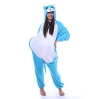 Cartoon Leuke Blauwe Muis Cosplay Rompers Animal Pyjama Set Pyjama Unisex Hooded Nachtjapon Nachtkleding