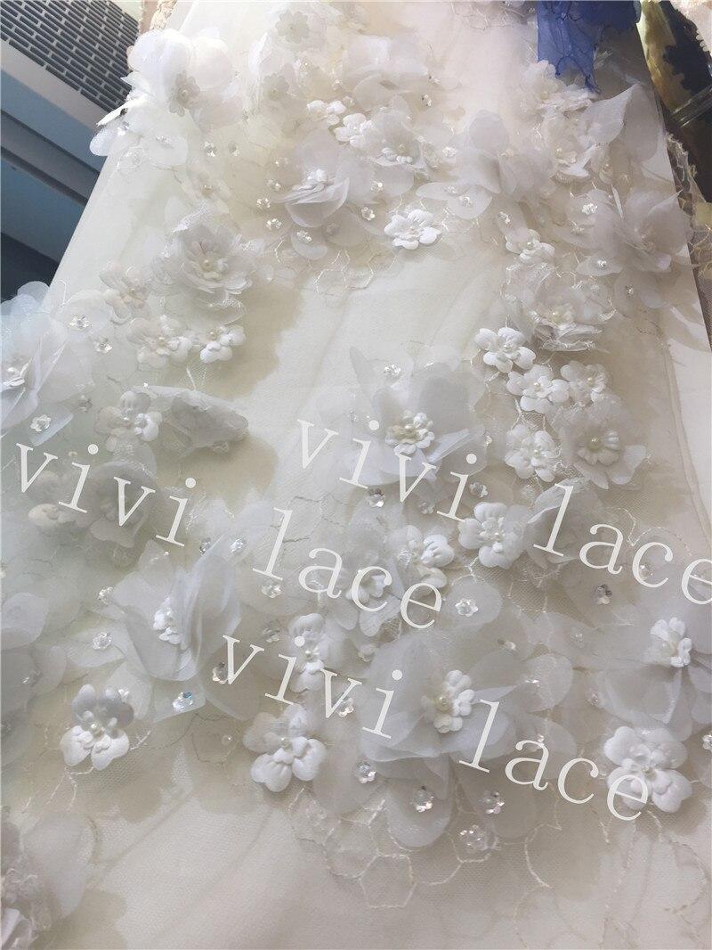 F9040 #5 ярдов камень жемчуг offwhite цветок Новые Лучшее качество 3D сетка кружевной ткани Для свадебной вечеринки