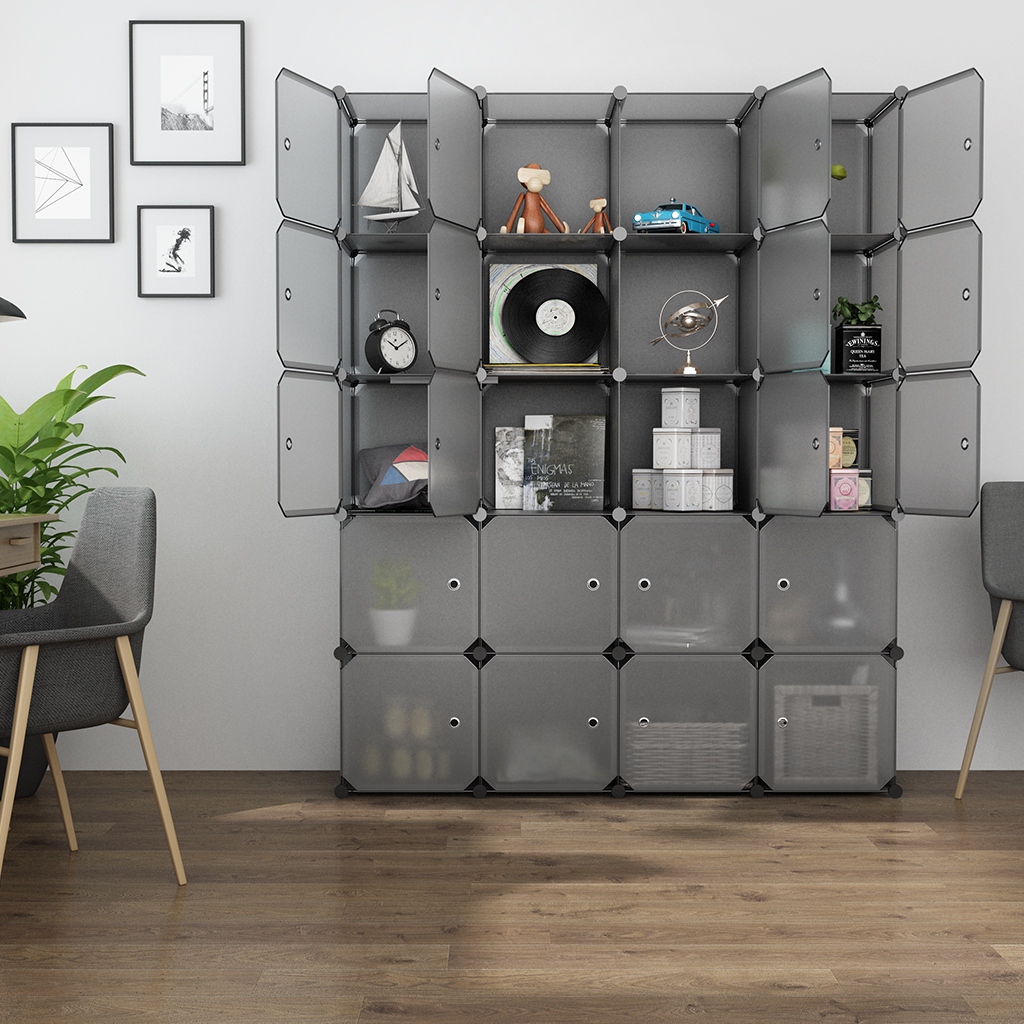 LANGRIA 20 Cube Organizer Stackable Plastic Cube Storage Shelves Multifunctional Modular Closet Cabinet Bedroom Living Room