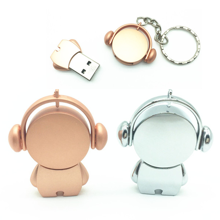 Cute Metal PenDrive Cartoon 32GB Music Man USB Flash Drive 4GB 8GB 16GB Pen Drive Musician Flash Memory Stick U Disk + Key Chain