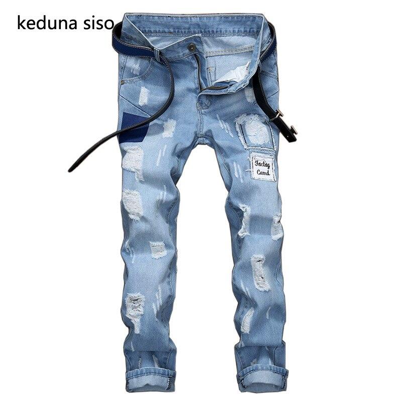 f5341e0b8 Patchwork rasgado cielo azul recto jeans Denim suave rodilla agujero  cremallera Biker Jeans hombres ...