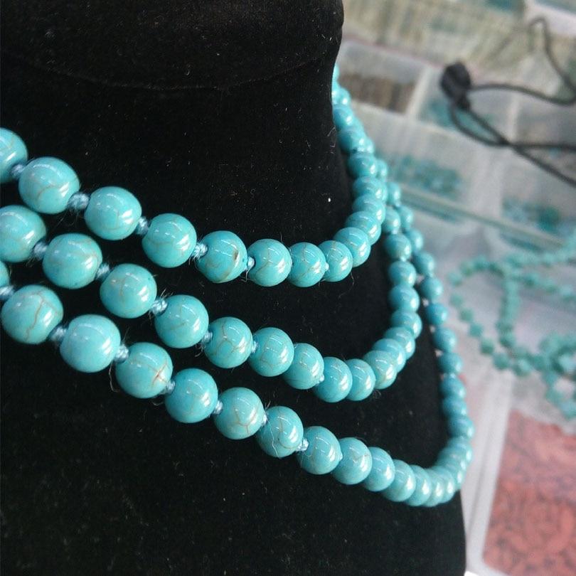 "19/' /""Ronde Bleu Turquoise Collier"