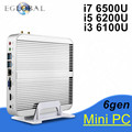 Eglobal Fanless Barebone PC Skylake 6500U i7/i5 6200U/6100U i3 Mini PC Windows 10 4 K HTPC gráficos HD 520 300 M Wi-fi
