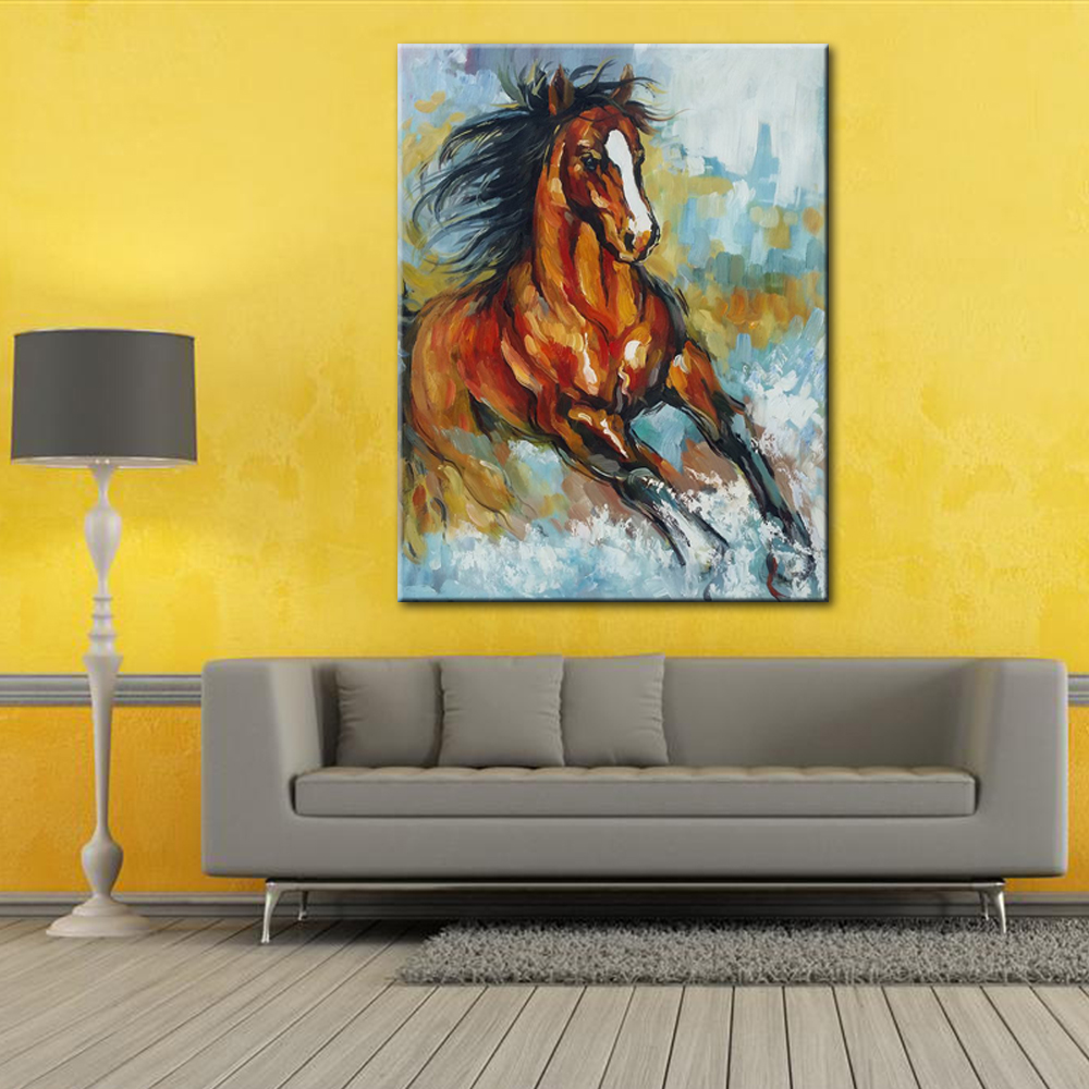 Europe Style Hand Painted Animal Horse Racing Oil Painting On Canvas ...