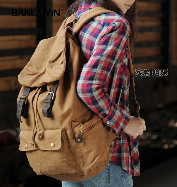 Fashion New Nice Military Canvas Backpacks For Teenage Girls Fashion Women Backpack School Bag Travel Fashion