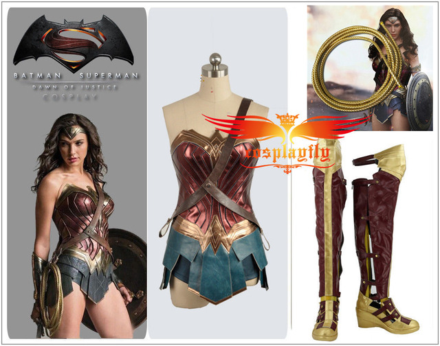 249ae62ff4b4 BatmanvSuperman Dawn of Justice Wonder Woman For Adult Cosplay Costume Boots  Shoes with 1.5-2m Rope