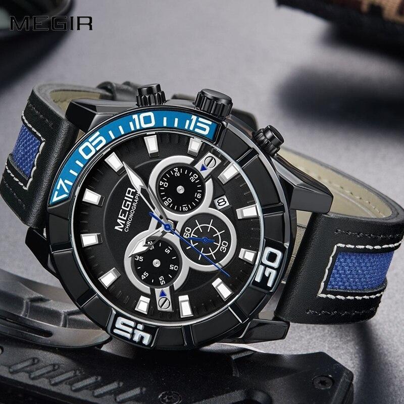 New Relogio Masculino MEGIR Watch Men Top Brand Luxury Leather Mens Watches Fashion Casual Sport Clock Men's Wrist Watches