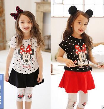 New children summer Minnie short sleeve T shirt divided skirt suit 2 7 years kids baby