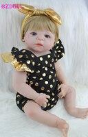 22 Full Silicone Body Reborn Girl Baby Doll Toys 55cm Newborn Princess Babies Doll Blonde Hair Birthday Gift Kids Brinquedos