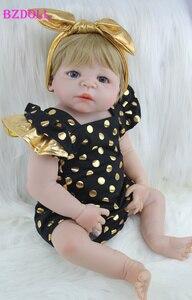 "22"" Full Silicone Body Reborn Girl Baby Doll Toys 55cm Newborn Princess Babies Doll Blonde Hair Birthday Gift Kids Brinquedos(China)"