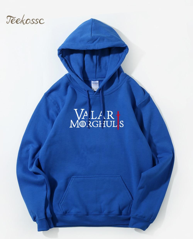 Game of Thrones Hooded Sweatshirt Men Valar Morghulis Hoodies Mens 2018 Fleece Warm Loose Fit Streetwear Royal Blue Hoodie Male