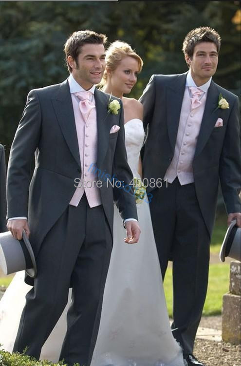 Grey Groom Morning Suit Groomsman Formal Prom Dresses Business Suit (Jacket+Pants+Vest+Tie+Kerchief) OK:1241