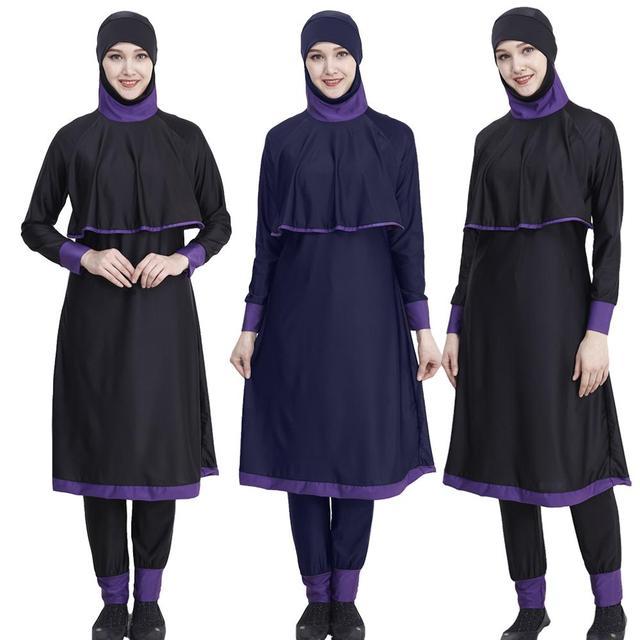 Новинка для хиджаба женский купальный костюм с длинным полным покрытием Burkini Мусульманский купальник купальный костюм женская мусульманская одежда для купания скромная пляжная одежда для купания