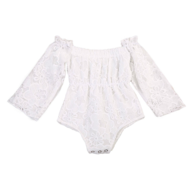 2017 Summer Newborn Baby Princess Girls Lace Romper Off shoulder Long Sleeve White Clothes Toddler Kids Jumpsuit Sunsuit 2017 summer toddler kids girls striped baby romper off shoulder flare sleeve cotton clothes jumpsuit outfits sunsuit 0 4t