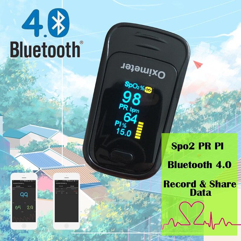 IOS APP Andriod handy Bluetooth 4,0 OLED Fingertip Pulsoximeter Finger Oximetro pulso Blut Sauerstoff SpO2 Sättigung Monitor