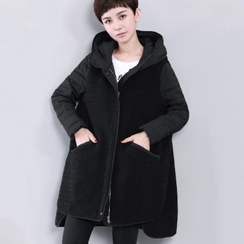 YAGENZ 2017 winter cotton Korean version of large size loose cotton fashion stitching thick coat female models yagenz 2017 new soft sister winter coat korean version of the long paragraph down jacket cotton winter thick loose cotton