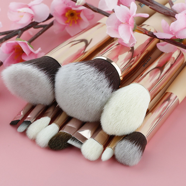 BEILI Pink Goat Hair Essential Foundation Eye shadow Blending Highlight Concealer 12pcs Makeup Brush Set rose golden ferrule 1