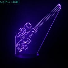 AWP Sniper rifle Night Light LED 3D Illusion USB Touch Sensor RGB Decorative Lights Child Kids Gift Weapon Gun Table Lamp desk