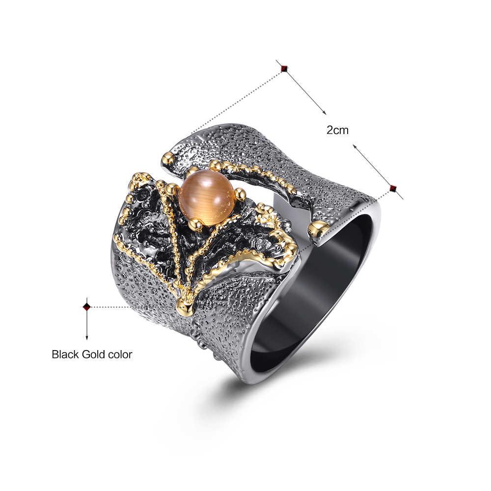 Brilliant Amazing แหวนแหวนหินสีดำทองสี Vintage Vintage great ค็อกเทลแหวนผู้หญิงเครื่องประดับ
