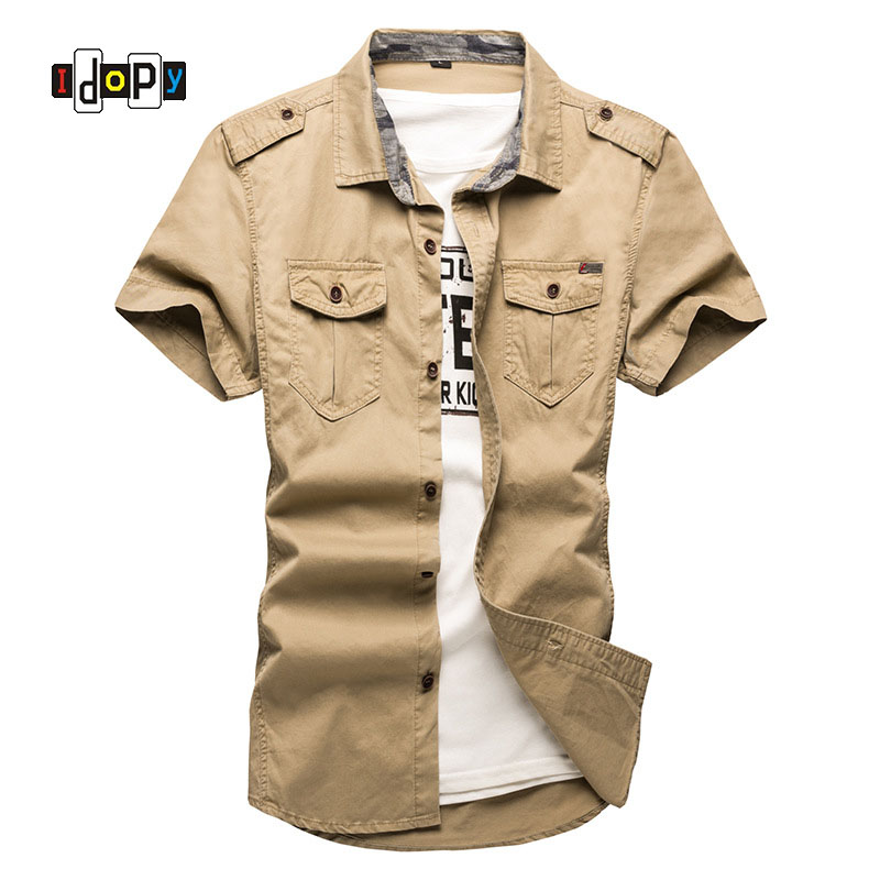 d792442fa09 Idopy Casual Mens Military Style Shirts Pacthwork Pocket Slim Fit Male  Shirts Short Sleeve Khaki Navy